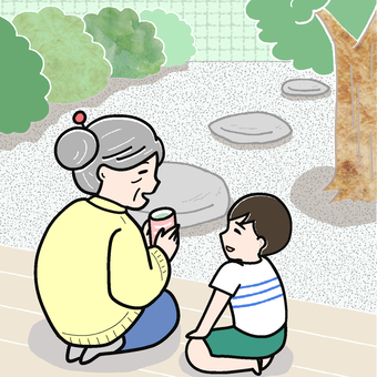 Child and grandmother talking on the porch