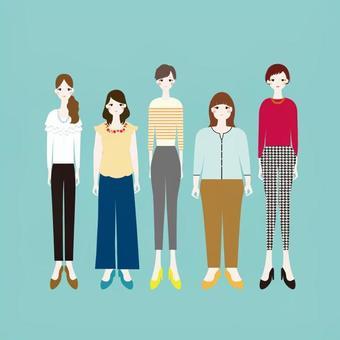 各種類型的女性插圖