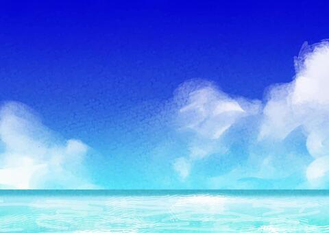 水彩 青 海