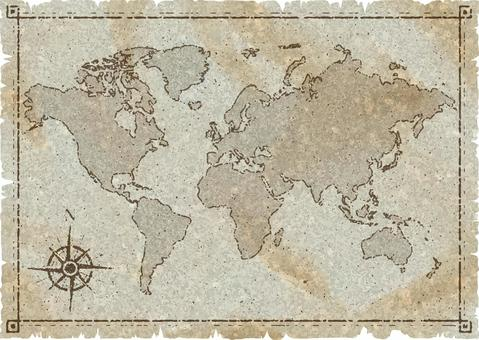 World map old map style