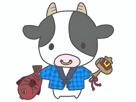 牛さんと縁起物(鯛・打ち出の小槌)