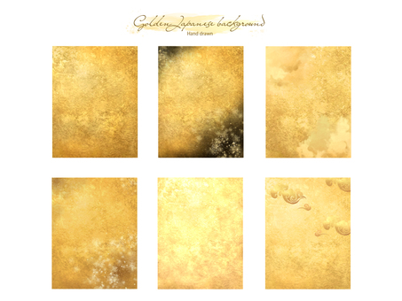 New Year's card gold leaf and watercolor background material collection