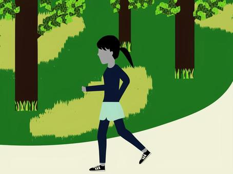 A woman who jogs in green