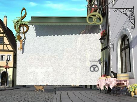Scenery of medieval architectural style and cat and message card