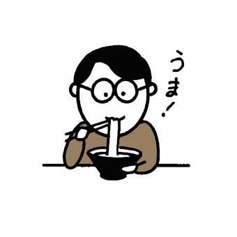 男人喝麵條