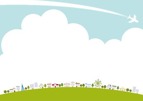 城市景觀和天空的背景材料