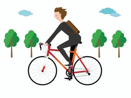 男子通過公路自行車上下班