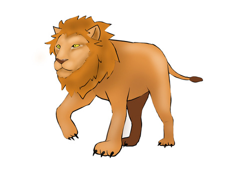 行走的獅子的插圖