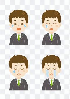 年輕的男人_哭泣的臉集