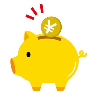 金の豚の貯金箱 イラスト