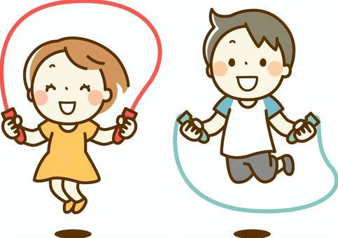Children jumping rope