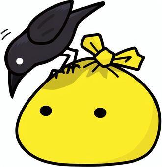 黃色垃圾袋和烏鴉