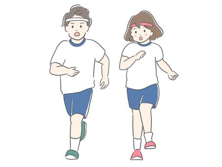 孩子們在運動會上跑步
