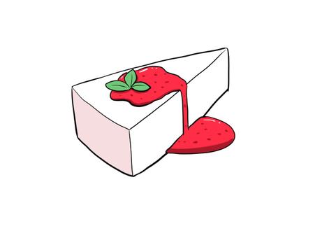 レアチーズケーキいちごジャムがけ