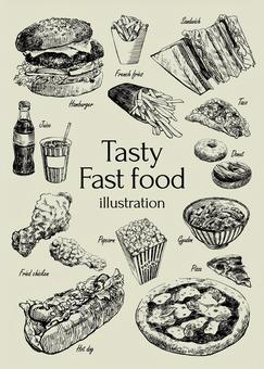 美味的快餐插畫