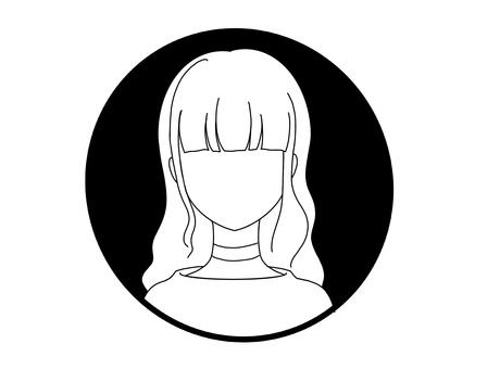 Monochrome icon_face_female_long hair