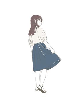 Girl in long skirt full body behind