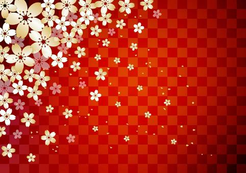 Cherry tree lattice _ red background
