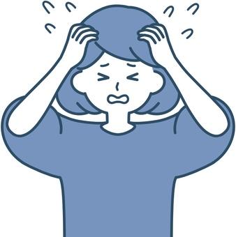 Woman holding her head Wow sweat