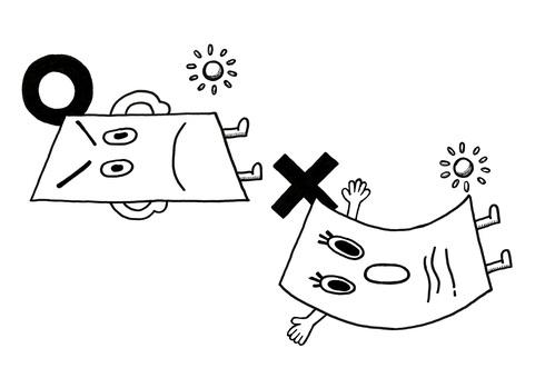 用紙反り説明キャラクターイラスト手描き