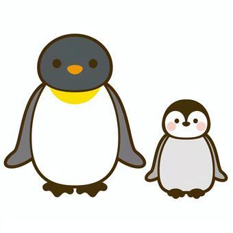 Emperor penguin parent and child