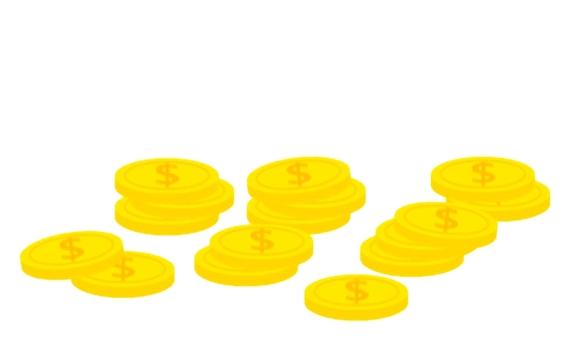 散落的硬幣的插圖