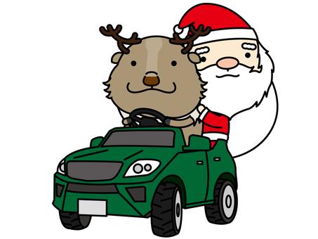 聖誕老人和馴鹿車運動