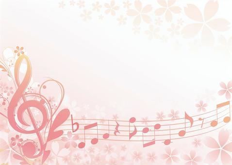 Cherry-blossom music frame Horizontal type