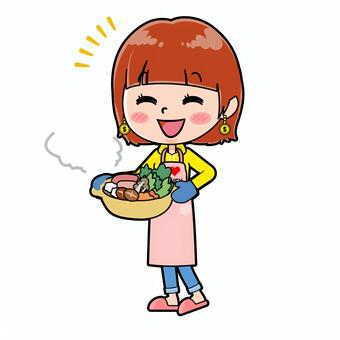 Woman who loves money Cooking pot