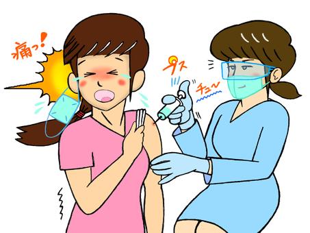 接種疫苗_接種疫苗的人和護士_很痛
