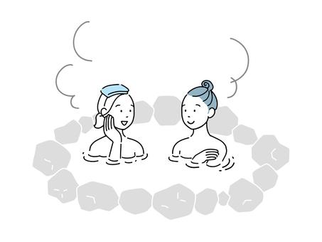 兩個女人去露天浴池