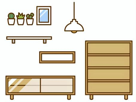 Furniture (TV stand, shelf, chest, lighting)