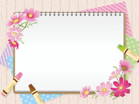 寫生和秋天的花朵·波斯菊背景01