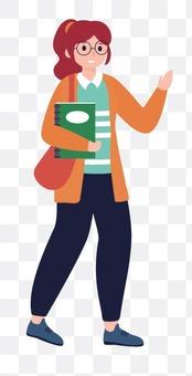 一個女人抱著一本書和問候