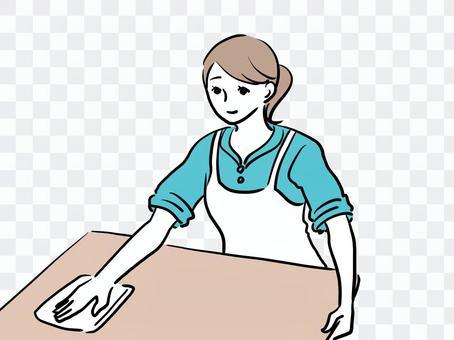 擦桌子的女人清潔公司