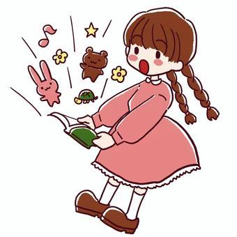 一個女孩被書世界驚呆了