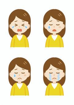 年輕女子_長_哭泣的臉集