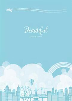 夏天背景框架018天空雲城市