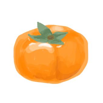 厚塗り風イラストの柿