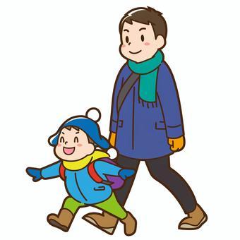 父親和兒子外出(冬季)
