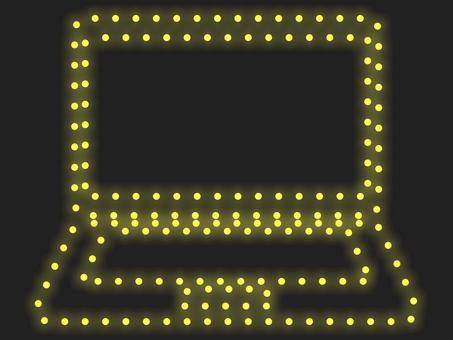 筆記本電腦照明圖標:黃色