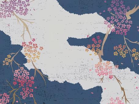 Handwritten cherry blossom pattern background material