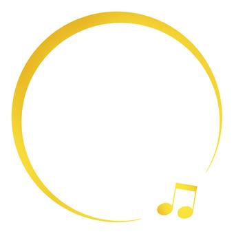 キラキラ金色のオンプの丸いフレーム