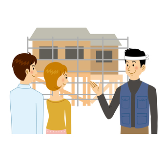 木匠解釋正在建造的房子