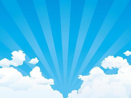 夏天藍藍的天空,雲層和輻射背景
