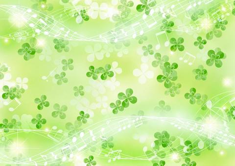 Clover and musical notes fluffy background horizontal