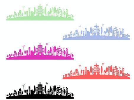 Colorful cityscape set
