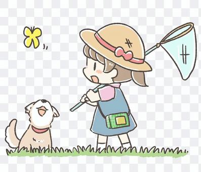 Girl and dog to catch bugs