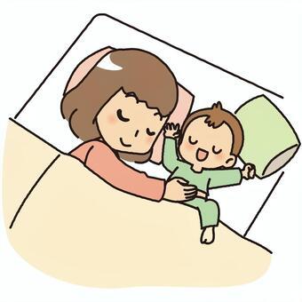 親子で眠る