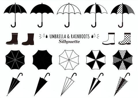 Umbrella and rain boots silhouette